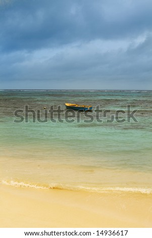 Small boat in ocean. Seychelles. La Digue - stock photo