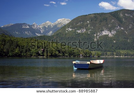 Small boat on the lake Bohinj, Slovenia.