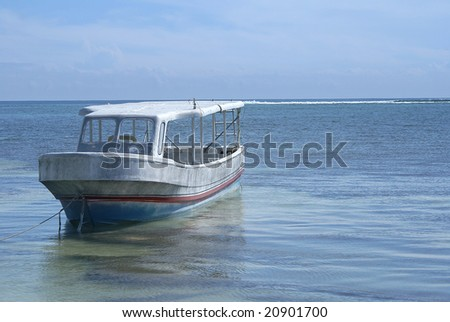 Small boat tied to the shoreline.