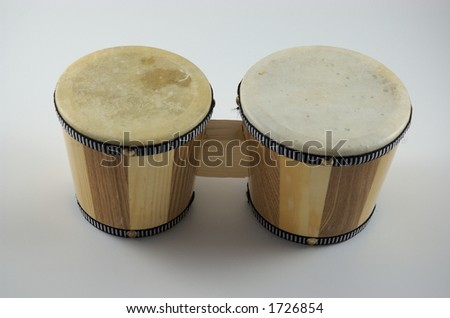 Small bongo drums isolated on white background - stock photo