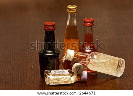 small bottle of alcohol - stock photo