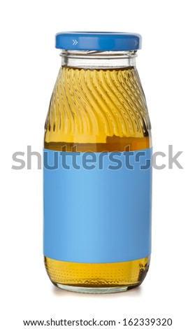 Small bottle of apple juice with blank blue label isolated on white - stock photo