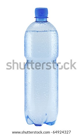 Small bottle of water with drops isolated on white (with clipping patch)
