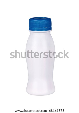 small bottle of yogurt isolated