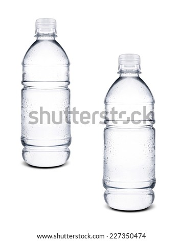 small bottles of water isolated - stock photo