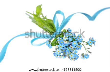 Small bouquet of blue forget-me-not, tied a blue ribbon, on a white background - stock photo