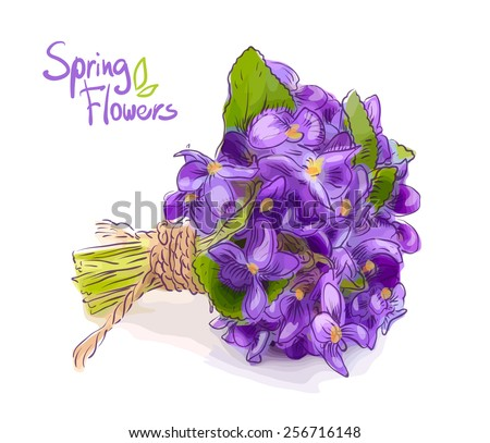 Small bouquet with meadow violets .Raster version. - stock photo