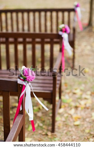 small bouquets of chrysanthemums and roses - stock photo