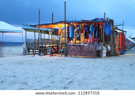 Small boutique on the beach at sunset, Philippines - stock photo