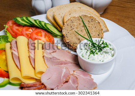 Small bowl of cottage cheese on a plate with slices of home-smoked tenderloin, cheese, smoked ham, tomato, cucumber and Polish bread.