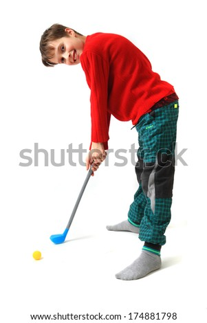 small boy and golf toy - stock photo