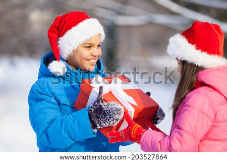 small boy giving present to girl. brother and sister having celebration outside - stock photo