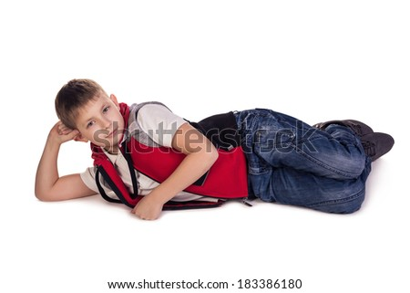 Small boy laying. Daydream. Isolated on white