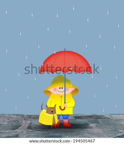 Small boy with his dog and a red umbrella in the rain