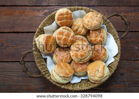 Small Bread Stuffed With Crackling - stock photo