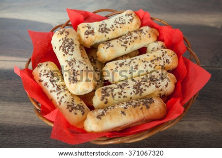 Small Bread Stuffed With Ham and Cheese - stock photo