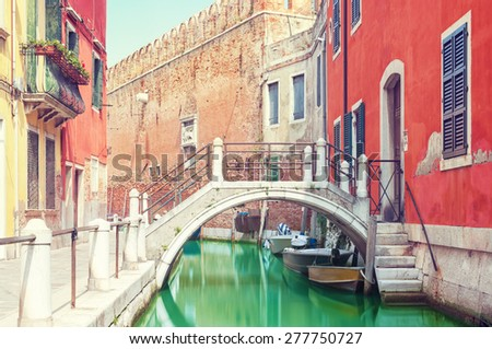 Small bridge over a canal in Venice, Italy.