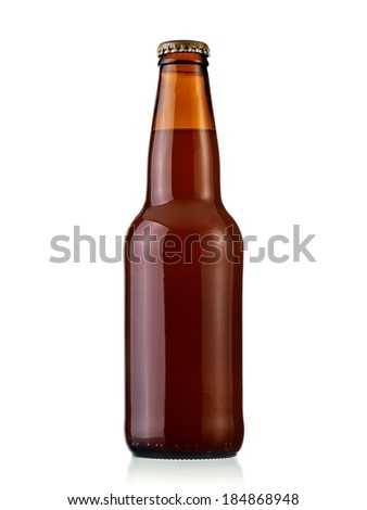 Small brown beer bottle - stock photo