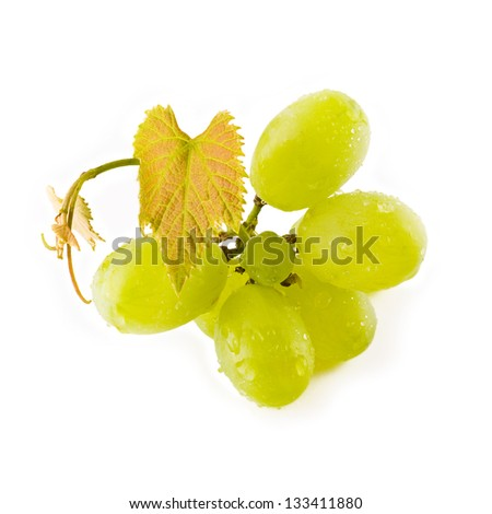 Small bunch of green grapes isolated on white - stock photo