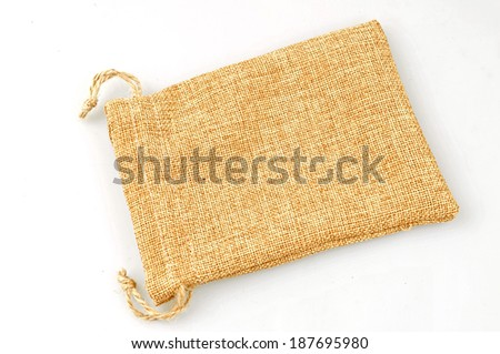 Small burlap sack isolated on a white background