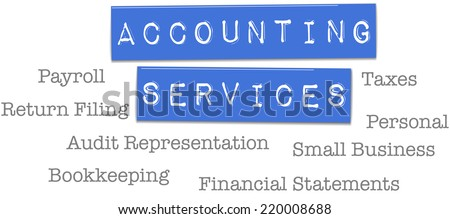 Small business accountant tax preparation bookkeeping services on plastic labels - stock photo