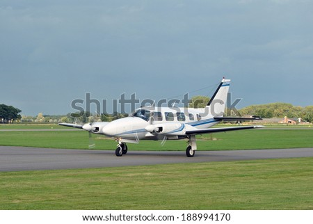 Small business airplane landing - stock photo