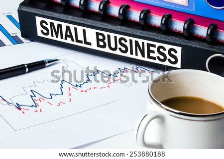 small business concept on business document folder - stock photo