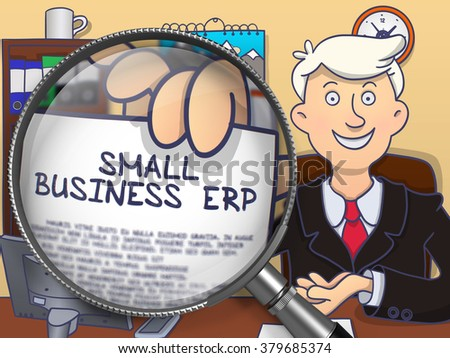 Small Business Erp. Smiling Man Welcomes in Office and Showing Paper with Text through Magnifier. Colored Doodle Style Illustration. - stock photo