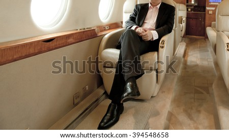 Small business jet plane interior - stock photo