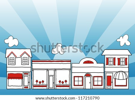 Small Business Main Street. Row of small business local shops and neighborhood stores on main street, copy space, blue background, drawing illustration.