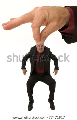 Small business man gets a lift from a helping hand - stock photo