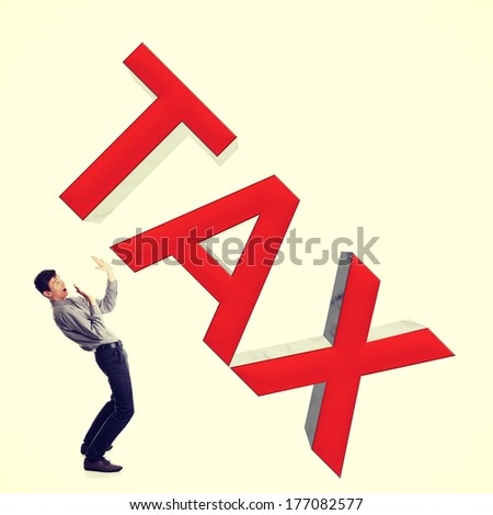 Small businessman afraid of big taxes. Isolated on white