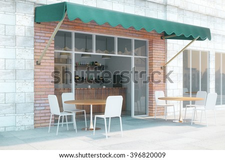 Small cafe with brick walls and green canopy exterior design. 3D Render & Small Cafe Brick Walls Green Canopy Stock Photo 396820009 ...