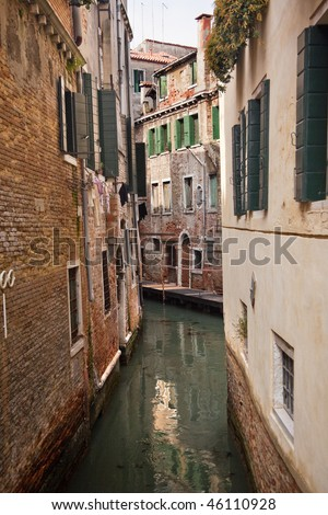 Small Canal Buildings Reflections Venice Italy