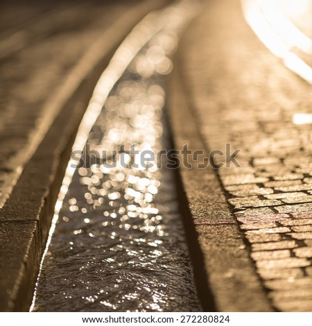 small canal in Freiburg, Germany  - stock photo