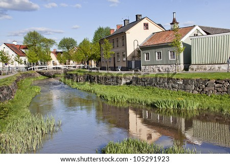 Small canal in Soderkoping, Sweden