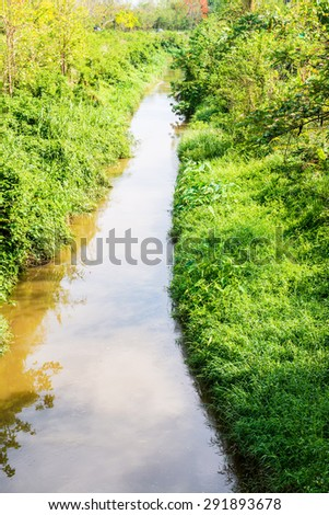 Small canal with plant in Thai country, Thailand. - stock photo