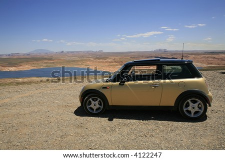 Small car overlooking Lake Powell in Page Arizona