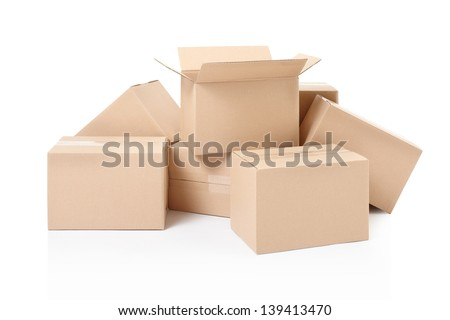 Small cardboard boxes isolated on white, clipping path included - stock photo