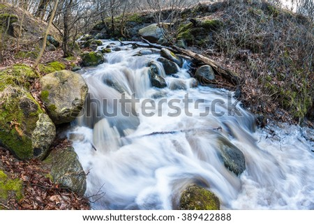 Small cascade on the fast forest river