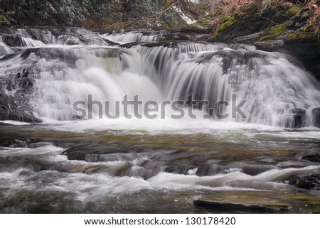Small cascades along Dingmans Creek in the Delaware Water Gap National Recreation Area - stock photo