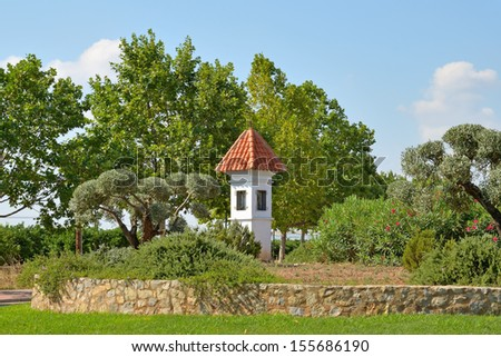 Small chapel at roundabout near Mascarell village in Valencia, Spain - stock photo