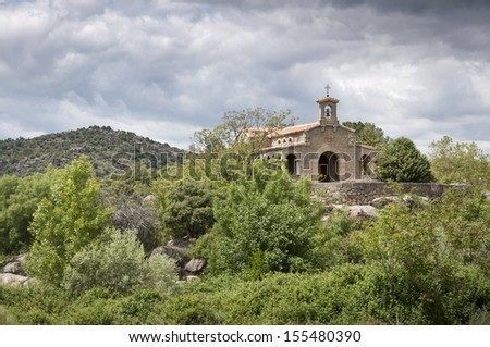 Small chapel in Iruelas Valley Natural Park, Avila, Spain Pine forest, Pinus pinaster