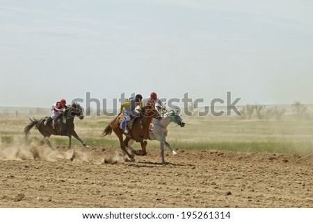 SMALL CHAPURNIKI, VOLGOGRAD, RUSSIA - MAY 24:The fight for the leading position in the race horses during the horse races devoted to celebration of the Sabantuy . May 24, 2014 in Volgograd, Russia.