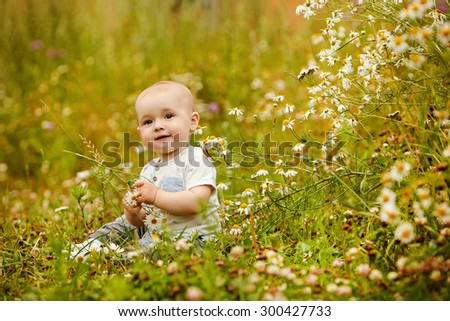 Small charming toddler boy light t-shirt sits in a field with daisies in the summer and smiles