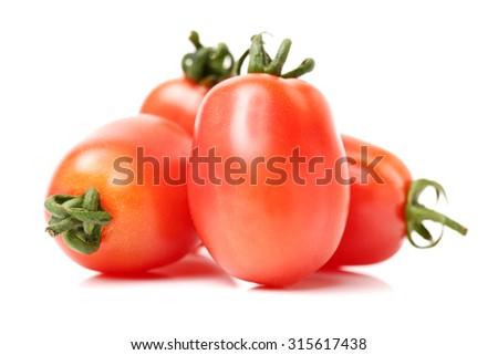 Small cherry tomato on white background  - stock photo