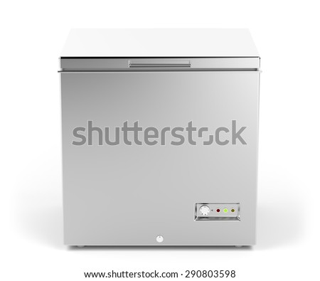 Small chest freezer in silver color - stock photo