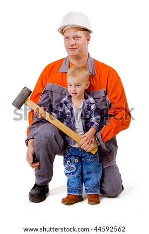 small child and his father working on a white background - stock photo