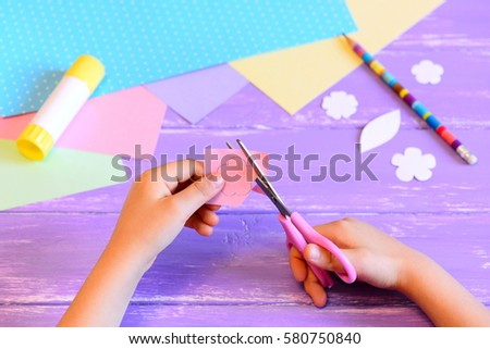 Small Child Creates Greeting Card Mom Stock Photo Royalty Free