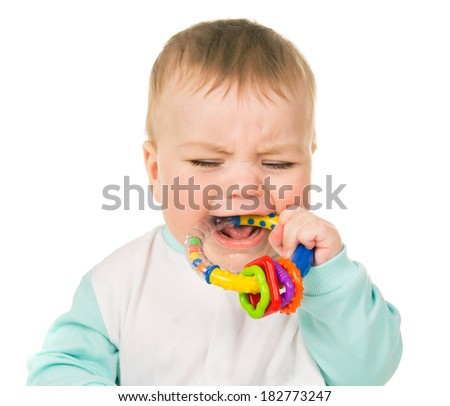 Small child crying isolated on white background